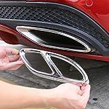 YUECHI 2pcs Gloss Black Steel Exhaust Trims for Mercedes Benz GLC C E-Class C207 Coupe 2014-2017 W213 W212 W205 X253 C180 C200 Car Part