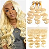 613 Human Hair Bundles With Frontal Blonde Peruvian Body Wave 3 Bundles With 13x4 Lace Frontal Pre Plucked 10A Honey Blonde Weave 100% Human Hair Extensions (202224+18inch, 3 bundles with frontal)