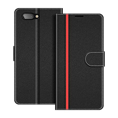 COODIO Handyhülle für BlackBerry Key2 Handy Hülle, BlackBerry Key2 Hülle Leder Handytasche für BlackBerry Key2 Klapphülle Tasche, Schwarz/Rot