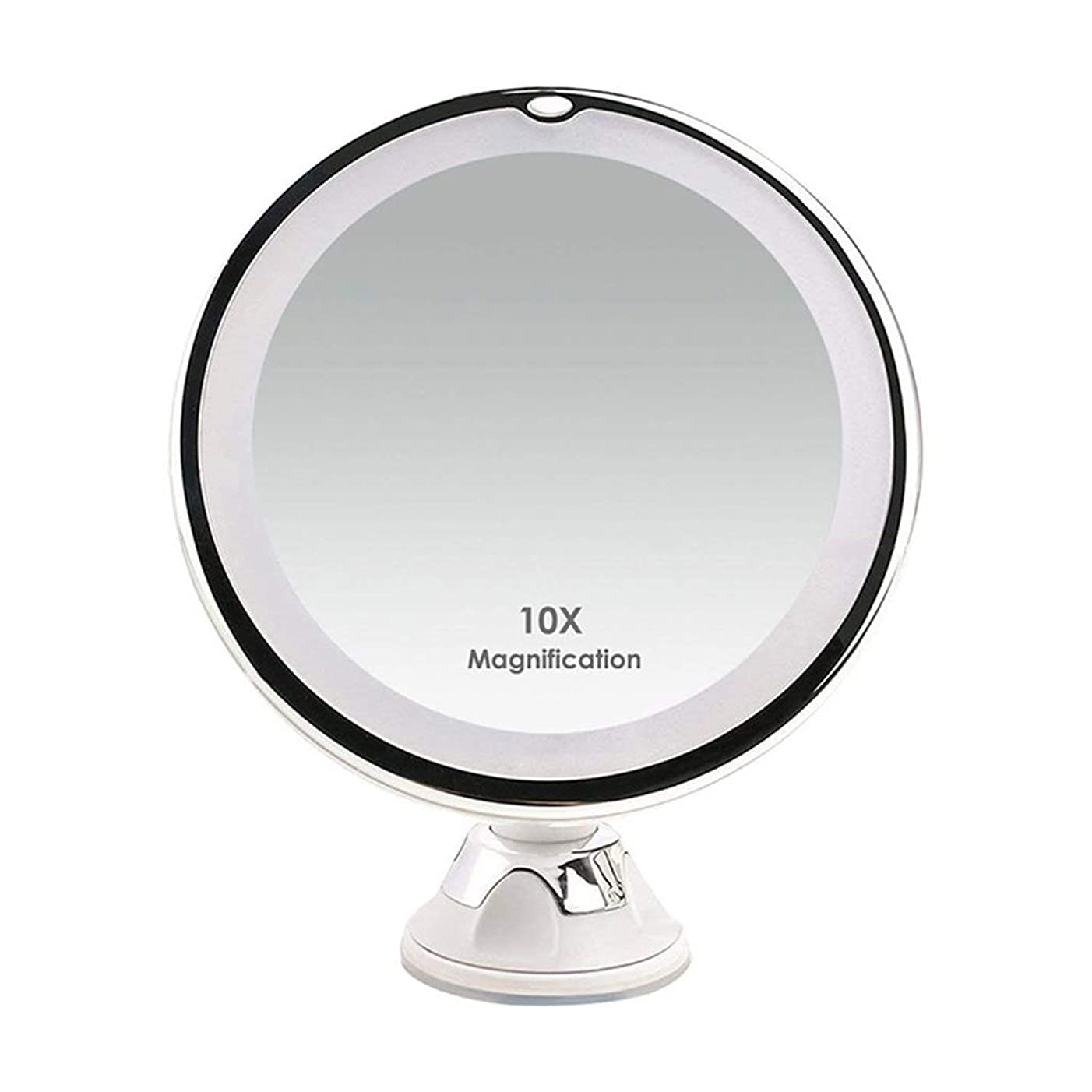 ギャロップ木覆すLEDメイクアップミラー10X拡大鏡化粧鏡ナイトライト家庭用卓上旅行用バスルームシャワー、360°スイベル、サクションカップ用ナイトライトフィルライト