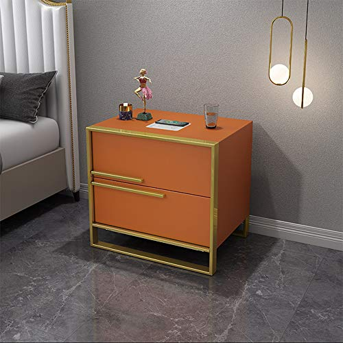 HSTD Smart Bedside Cabinet Chest Of Drawers 2 Drawer With Metal Handles & Runners, Wireless Charging, Air Purification Modern Simple Bedroom Furniture, Bluetooth Player(Cortical) B Orange