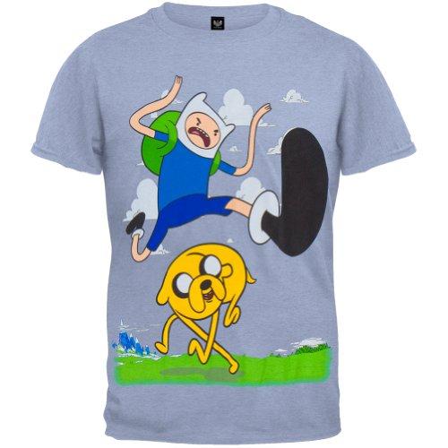 Adventure Time–Finn Kick Jump Youth Jungen T-Shirt Gr. Small, Hellblau