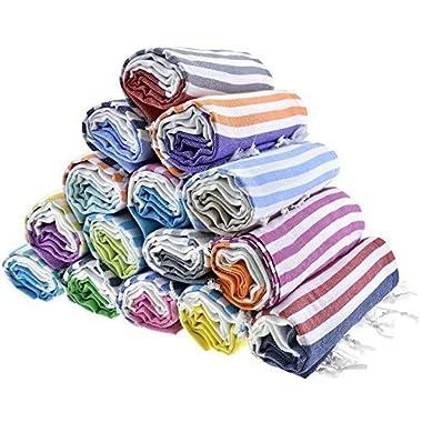 Sale Set of 6 XL Turkish Cotton Bath Beach Spa Sauna Hammam Yoga Gym Hamam Towel Fouta Peshtemal Pestemal Blanket - Set of 6 with Gift Bath Mitt