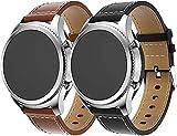 Gransho Correa de Reloj compatible con Garmin Forerunner 245 / Forerunner 245 Music/Forerunner 645 Music, Cross Piel Correa/Banda/Pulsera/Reemplazo (20mm, braun+schwarz)