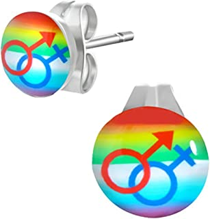 Bisexual / Pansexual Pride - Rainbow Stud Male & Female Symbol Earrings LGBT Stud Earrings. GLBT Jewelry. Great for the Gay parade or as a Gay Gift to Celebrate Same-Sex Wedding Marriage Equality.