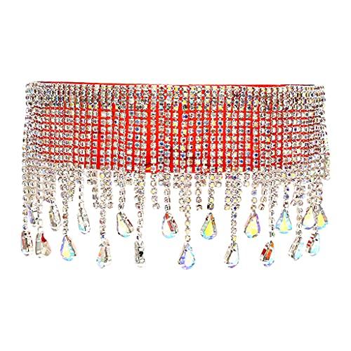 harayaa Gafas de Sol de Cristal Brillantes para Mujer con Montura Colorida de Gran tamaño - Rojo