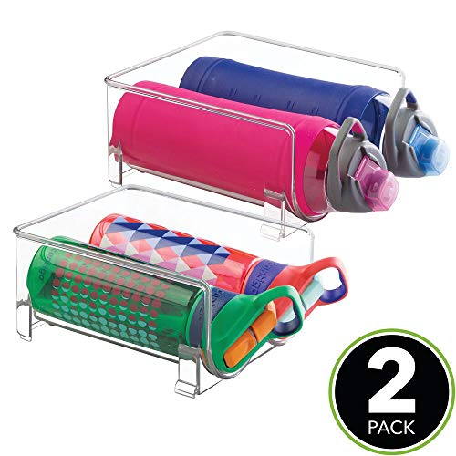 8 Pack Each Rack Holds 3 Containers Pantry mDesign Modern Plastic Stackable Vertical Standing Water Bottle Holder Stand Clear MetroDecor Fridge Storage Organizer for Kitchen Countertops