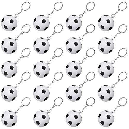 Blulu 20 Packung Weiß Fußball Schlüsselanhänger für Partei Gefälligkeiten, Fußball Stressball, Schule Karneval Belohnung, Partei Tasche Geschenk Füller (Fußball Schlüsselanhänger, 20 Packung)