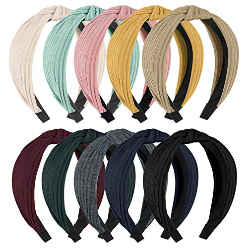 HBselect 10stk Haarreifen Damen breite Haarbänder Stirnbänder verschiedne Farben für Alltag Konzerte Party Make-up dicke Haare