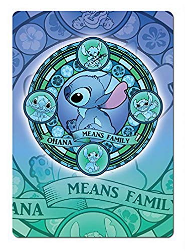 Uptell Ohana Stained Glass Blue. Metal Wall Sign Plaque Wall Funny Home Coffee or Pub Decor. Lilo Stitch - 8x12 inch