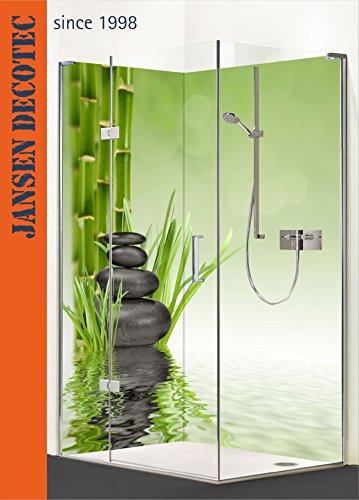 Eck - Duschrückwand, 2 Segmente, je 90x200cm, Motiv: ZEN Steine, Bambus - KOSTENLOSER Zuschnitt auf Ihr Wunschformat !