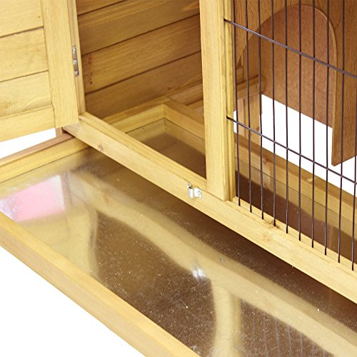 Hasenstall / Kaninchenstall STELLA aus massivem Tannen-Holz in 92x45x70 cm – Kleintier-Stall für Draußen – Wetterfester Schutz & Rückzugsort für Hase & Kaninchen im Winter & Sommer – TIMBO - 4