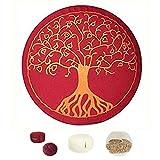 Cojín de meditación Maylow con bordado del árbol de la vida, 33x 15 cm, relleno...