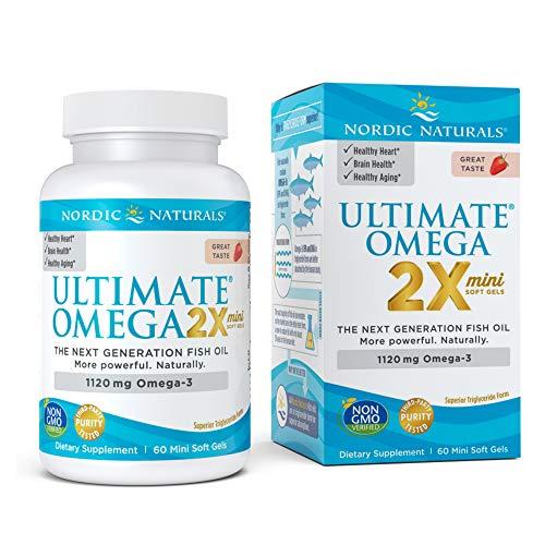 Nordic Naturals Ultimate Omega 2X Mini, Strawberry Flavor - 1120 mg Omega-3-60 Mini Soft Gels - High-Potency Omega-3 Fish Oil Supplement - EPA & DHA - Promotes Brain & Heart Health - 30 Servings
