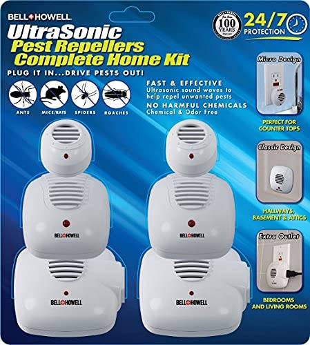 Bell + Howell Ultrasonic Pest Repeller Home Kit (Pack of 6), Ultrasonic Pest Repeller, Pest Repellent for Home, Bedroom, Office, Kitchen, Warehouse, Hotel, Safe for Human and Pet