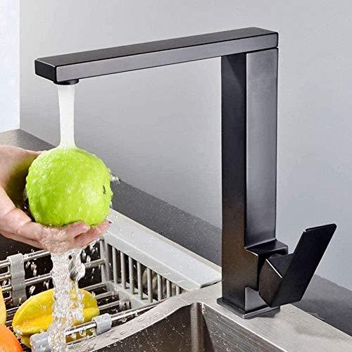 kraan keuken enkele gat enkele handvat kan worden gedraaid 360 graden wastafel mixer vierkant Deckwashing machine keuken