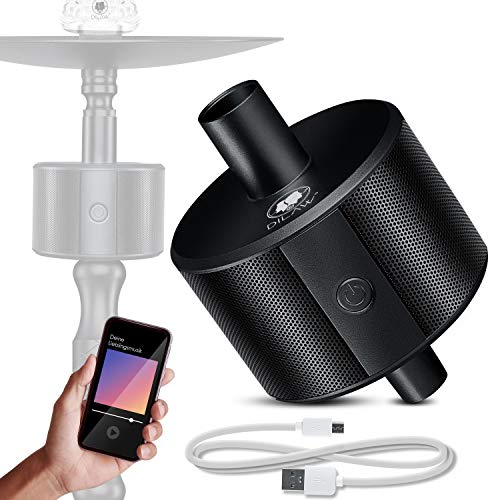 DILAW® Shisha ECO Bluetooth Speaker Hookah SoundBar Mini Bluetooth Lautsprecher, 80dB Kabellose Tragbare Wasserpfeife Musikbox mit 24 Farbige LED 10m Bluetooth Reichweite 350 mAh, Black