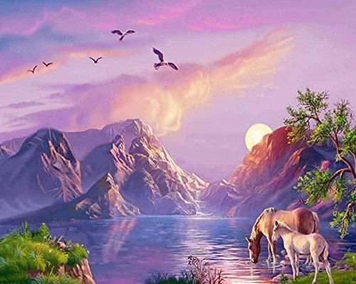 Juguetes educativos para adultos y niños Rompecabezas de Tangram Rompecabezas de madera clásico,1000 piezas para   Desafío de juegos educativos Horse Sunset Eagle Sunset s para niños   50x75cm