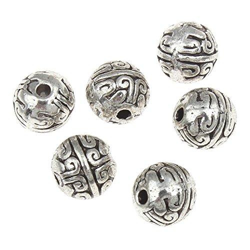 Perlin - Verzierte Metallperlen Kugeln Spacer 8mm 30stk Versilbert Filigrane Metall Perlen Schmuckperlen Antiksilber Zwischenperlen Basteln Charms Beads M540 x2