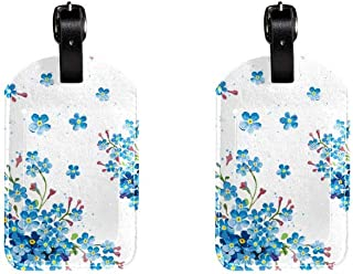 Blue FlowerLeather Luggage Tags Suitcase Labels Bag Travel ID Bag Tag, 1 Pcs