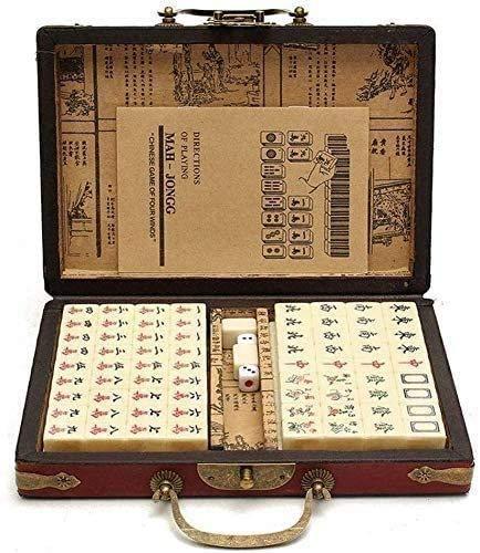 LLKK Majiang Travel Set,Mahjong Set con Caja,Mah Jong Game Set 144 Tiles Portable con Instrucciones en inglés