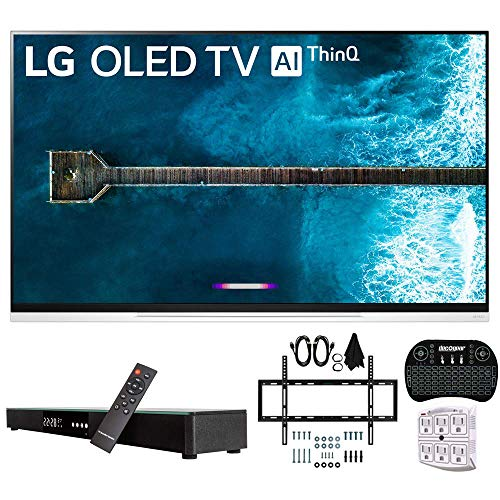 "LG OLED55E9PUA 55"" E9 4K HDR OLED Glass Smart TV w/AI ThinQ (2019 Model) w/Soundbar Bundle Includes Deco Gear Home Theater Surround Sound 31"" Soundbar, Flat Wall Mount Kit for 32-60 inch TVs and Mor"