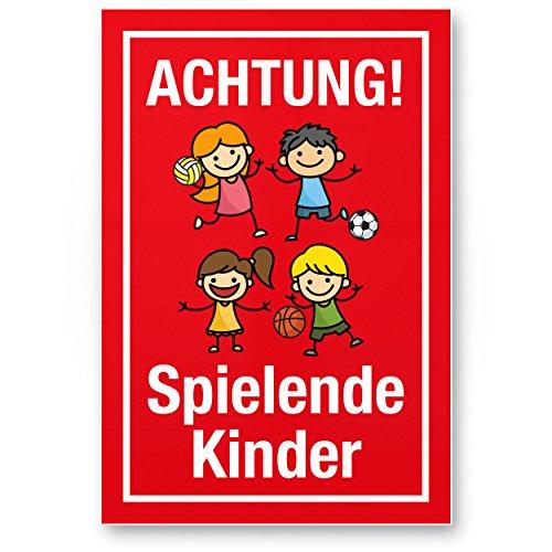 Achtung Spielende Kinder Kunststoff Schild (rot, 20 x 30cm), Hinweisschild, Warnzeichen, Warnschild langsam fahren, Warnung, Hinweis Spielstraße/Spielplatz - Vorsicht spielende Kinder