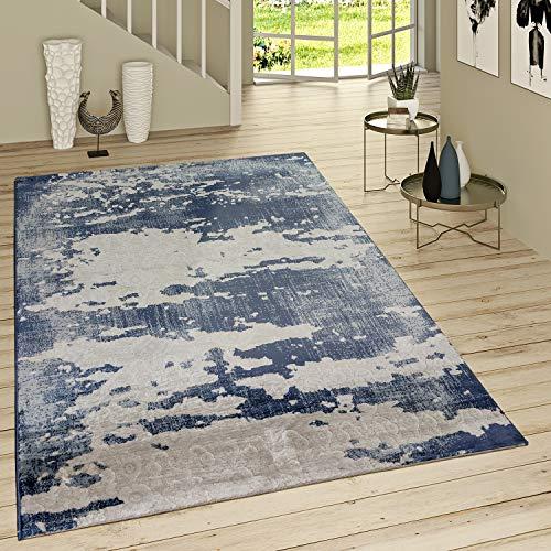 Alfombra Pelo Corto Look Desgastado Adornos Estampado Vaquero Moderno Gris Azul, tamaño:160x230 cm