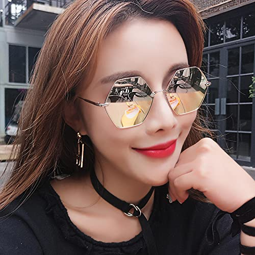 Moda Gafas De Sol para Mujer Polarizadas con Estilo Hexágono Marco De Metal Espejo Colorido Sombras Uv400 Aleación para Niña Sun Glsses C4