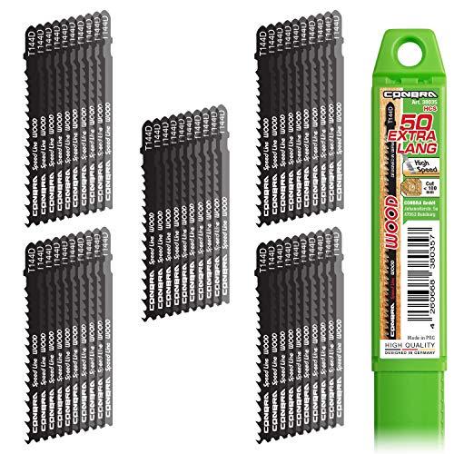 CONBRA® Stichsägeblätter T144D (50-teiliges Set) für Holz (Wood) - kompatibel mit Bosch & Makita Stichsägen (Sägeblätter Stichsäge, Sägeblatt Stichsäge)