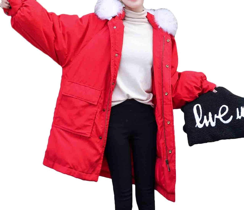 Esast Women's Winter Down Jackets Puffer Parka Coat Maxi Faux Fur Hood Overcoat