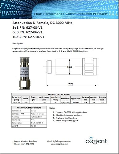 Cogent's 10dB attenuator N-Type (Male/Female) supporting frequency range of DC-3000 MHz with an average power rating of 5 watts