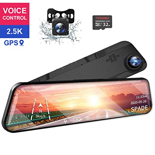 SPADE 12' Mirror Touch Screen Dash Cam 2.5K Rearview Camera with Front and Rear View Dual Lens GPS Full HD WDR Night Vision, G-Sensor (Free 32GB SD Card) for Cars/Trucks