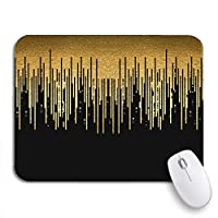 NINEHASA 可愛いマウスパッド パターンゴールドラインラグジュアリーストライプブラックテキスト未来ゴールデンノンスリップゴムバッキングマウスパッドノートブックコンピュータマウスマット