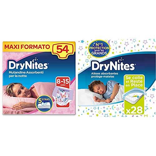 Huggies DryNites absorbierende Nachtwindel für Mädchen (8-15 Jahre), 9 Stück inkl. 28 x Matratzenschutz