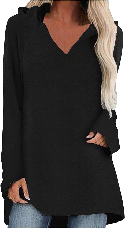 ManxiVoo Women's Hooded Pullover Top V Neck Long Sleeve Solid T-Shirt Plain Basic Tunic Blouse Shirt