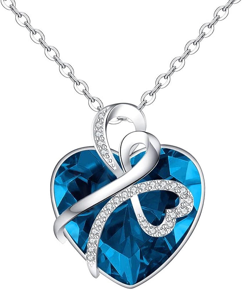 Yopicks Crystal Birthstone Necklace Pendant Heart Love Under blast sales Baltimore Mall Necklaces