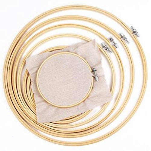 StitchIt 6 Piece Embroidery Hoop Set   Bamboo Embroidery Hoops for Cross Stitch and Embroidery
