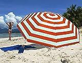 Guilty Gadgets - Ombrello da giardino a righe rosse, 1,7 m, per spiaggia, patio, ombrellone parasole con...