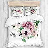 Funda nórdica, flor de jardín, lavanda, rosa, melocotón, rosa, anémona blanca, cera, patrón de eucalipto verde, 1 funda nórdica y 2 fundas de almohada, juegos de funda de edredón para ropa de cama de
