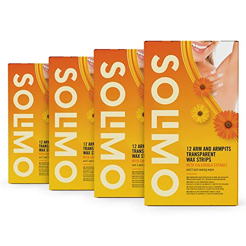 Amazon-Marke: Solimo transparente Wachsstreifen für Arme & Achseln mit Ringelblumen-Extrakt und 2 Post-Epilationstüchern (4x12)
