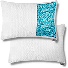 Shredded Memory Foam Pillows for Sleeping - Bamboo Cooling Firm Cool Bed Pillow for Side Stomach Sleeper Neck Shoulder Pain - Organic Cold Hypoallergenic - Large Queen Size - 2 Pack