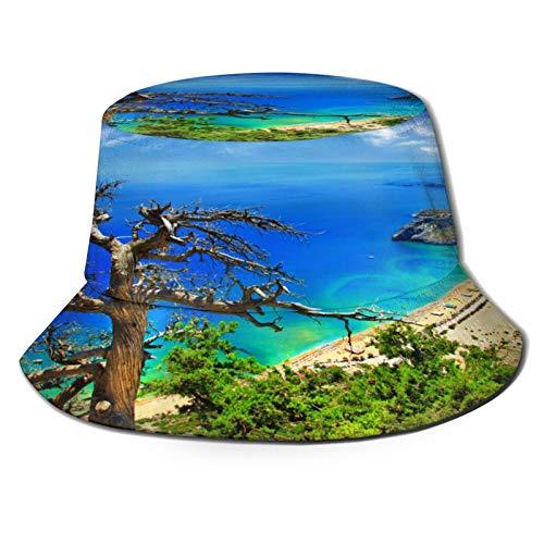 MAYUES Sombrero de Pescador Unisex Vista de la Playa Griega Isla de Rodas Costa de Tsambika Cielo despejado y Foto del mar Plegable De Sol/UV Gorra Protección para Playa Viaje Senderismo Camping