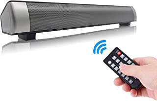 Sanwo Black Wired and Wireless Bluetooth Home Theater TV Stereo Speaker with Remote Control, TF Card- Surround SoundBar TV/Cellphone/Tablet , 2 X 5W Compact Sound Bar 2.0 Channel