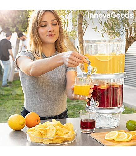 InnovaGoods - Dispenser di bevande doppio con contenitori di ghiaccio e vassoio per snack TwinTap