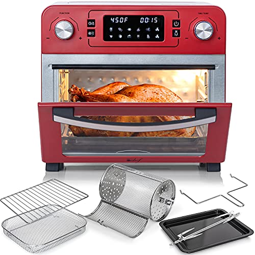 Deco Chef 24 QT Red Stainless Steel Countertop 1700 Watt Toaster Oven with Built-in Air Fryer and Included Rotisserie Assembly, Grill Rack, Frying Basket, and Baking Pan