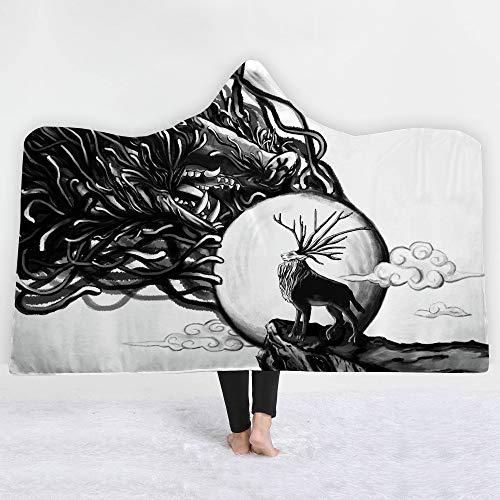 3D diermonster-deken met capuchon, fleece, sherpa Ocean Blue Wearable pluche op een deken, bank, dik warm, luier 130x150cm 1 exemplaar