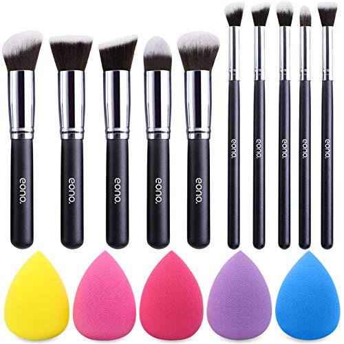 EONO Essential Set de Brochas de Maquillaje Profesional, Synthetic Kabuki Premium para Base Polvos Colorete Contorno, con Esponja (10+5 Piezas, Negro/Plateado)