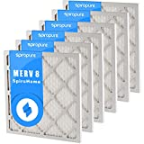SpiroPure 17.5X17.5X1 MERV 8 Pleated Air Filters - Made in USA (6 Pack)