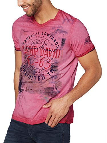 Camp David Herren T-Shirt Oil Dyed mit V-Neck und Photoprint